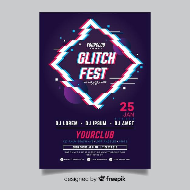Modèle de flyer de musique électronique effet glitch Vecteur gratuit