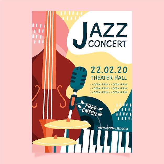 Modèle de flyer musique jazz abstraite dessiné à la main Vecteur gratuit