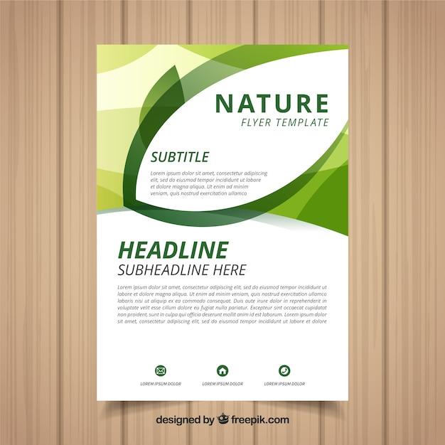 Modèle de flyer nature moderne avec un design plat Vecteur gratuit
