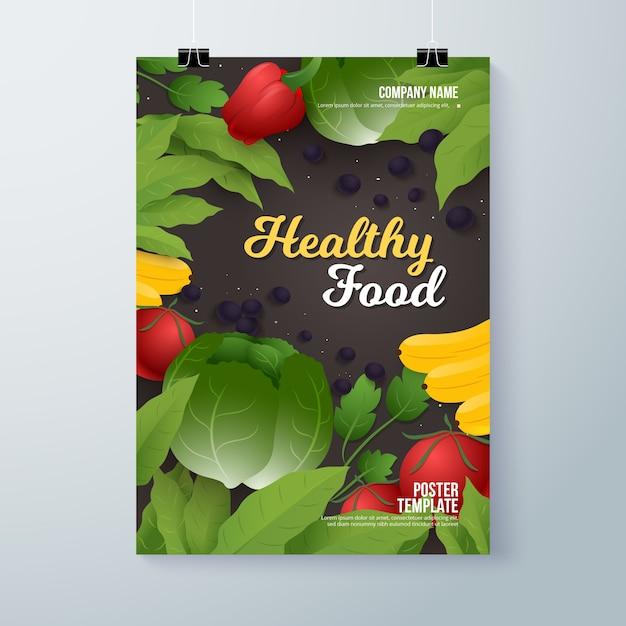 Modèle De Flyer De Nourriture Saine Vecteur gratuit