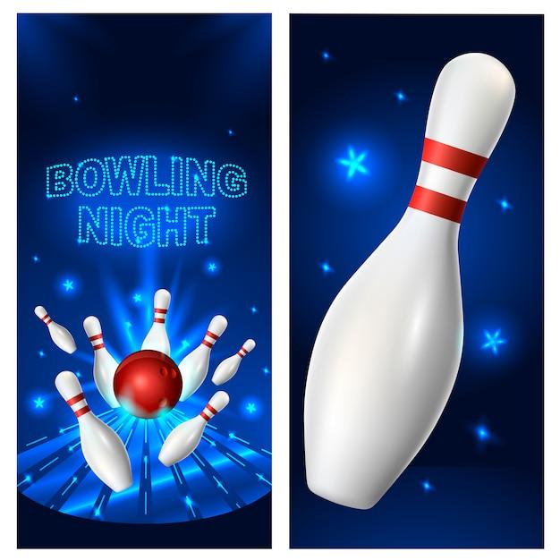 Modèle de flyer de nuit bowling Vecteur Premium