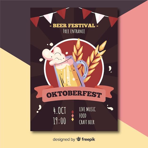Modèle de flyer oktoberfest dessiné à la main Vecteur gratuit