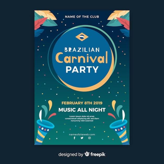 Modèle de flyer party carnaval brésilien Vecteur gratuit