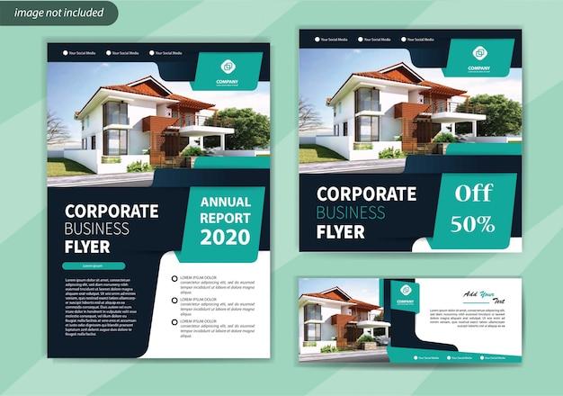 Modèle De Flyer Pour La Brochure De Couverture Promotion Des Médias Sociaux Et D'entreprise Vecteur Premium