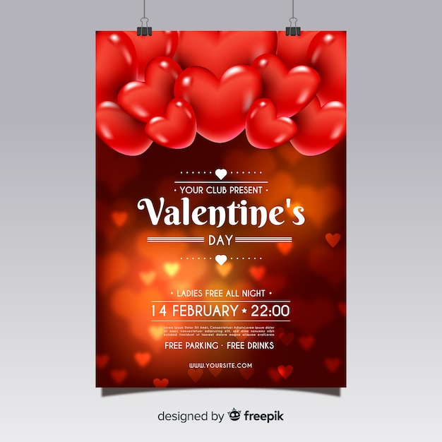 Modèle de flyer réaliste fête de la saint-valentin Vecteur gratuit
