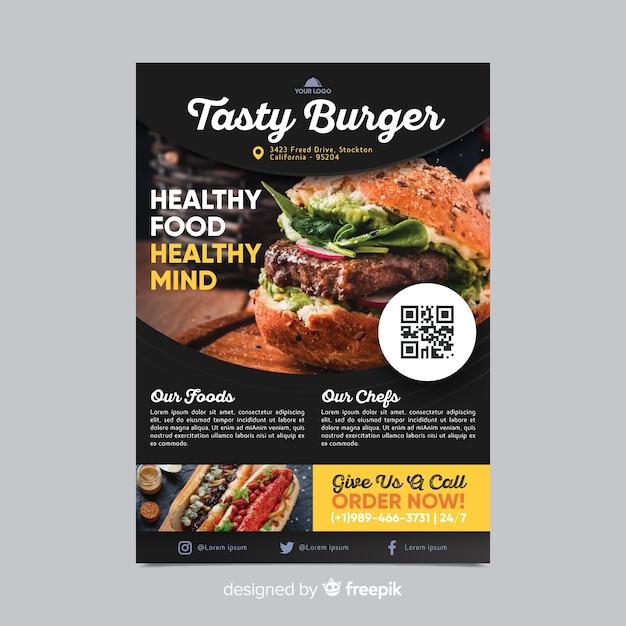 Modèle de flyer de restaurant avec photo Vecteur gratuit