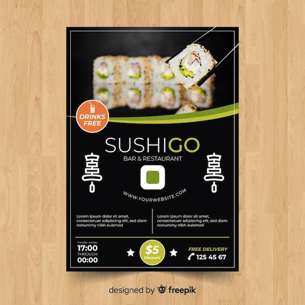 Modèle de flyer restaurant sushi moderne Vecteur gratuit