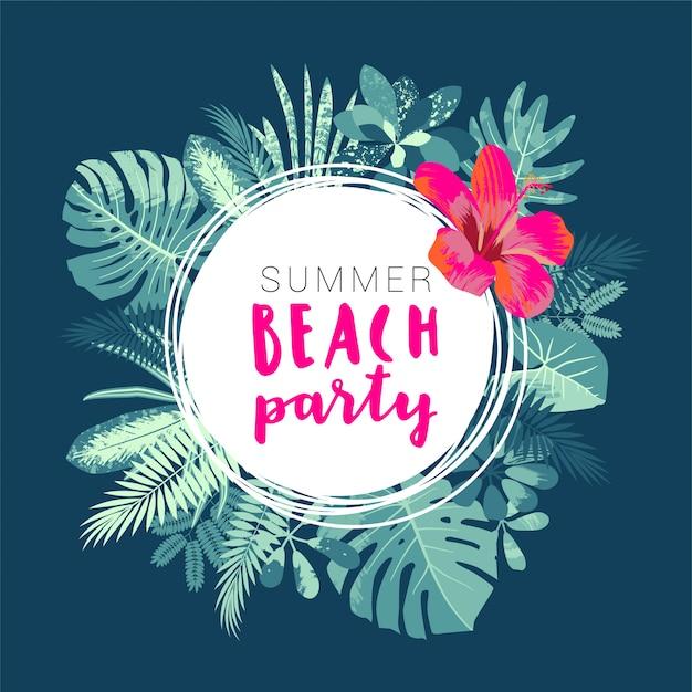 Modèle De Flyer De Summer Beach Party Avec Feuilles Tropicales Vecteur Premium