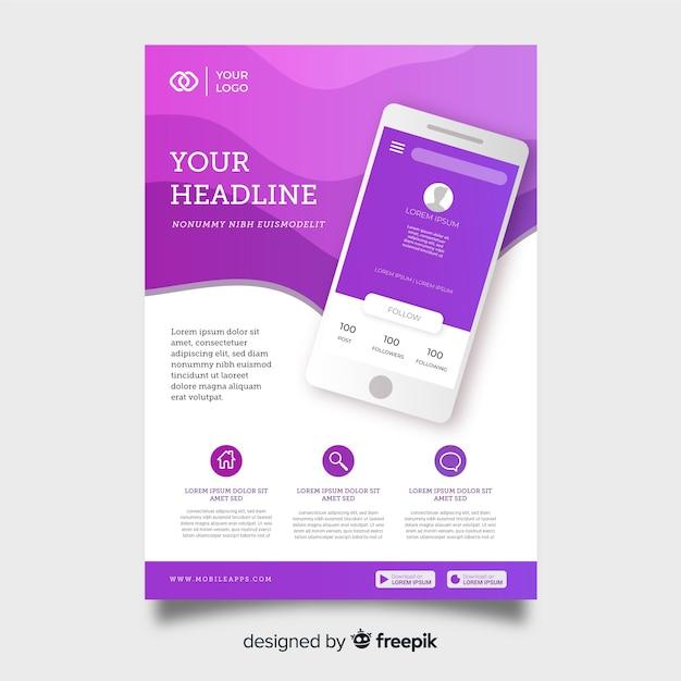 Modèle de flyer de technologie avec smartphone Vecteur gratuit