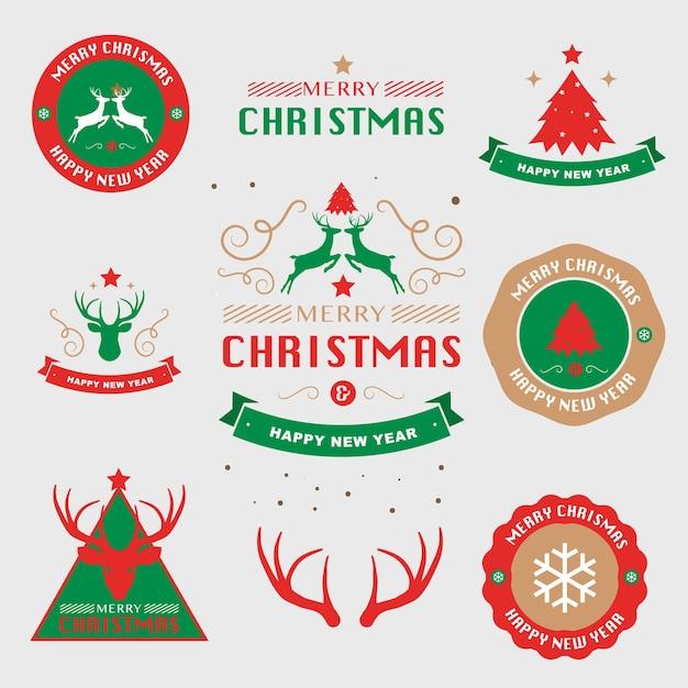 Modèle De Flyer De Typographie Carte De Voeux Joyeux Noël Et Bonne Année. Illustration Vectorielle Vecteur Premium