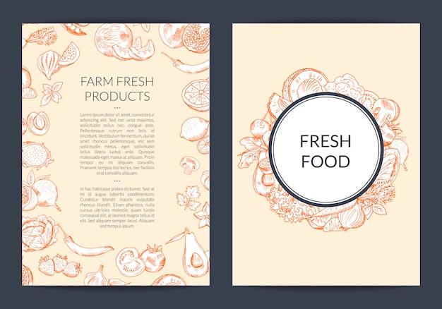 Modèle de flyer vecteur fruits et légumes dessinée à la main Vecteur Premium