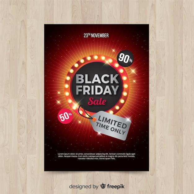 Modèle de flyer vendredi noir moderne avec un design réaliste Vecteur gratuit