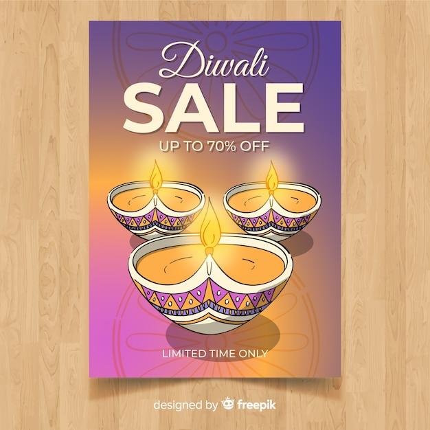 Modèle de flyer vente belle main dessinée diwali Vecteur gratuit