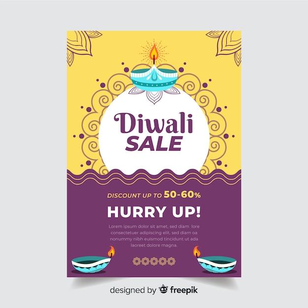 Modèle de flyer vente diwali plat et soleil ornemental et vagues Vecteur gratuit