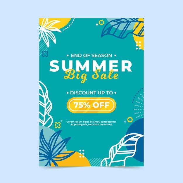 Modèle De Flyer De Vente D'été Avec Des Feuilles Vecteur Premium