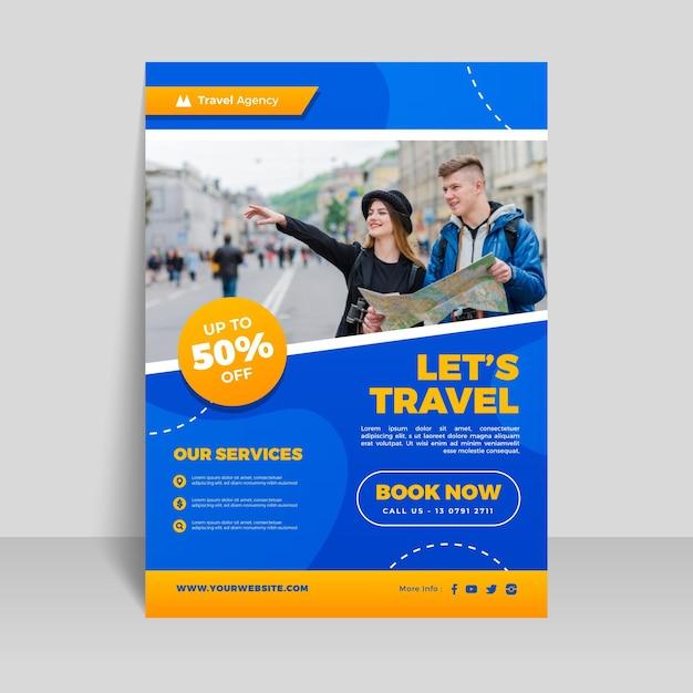 Modèle De Flyer De Vente De Voyage Avec Image Vecteur Premium
