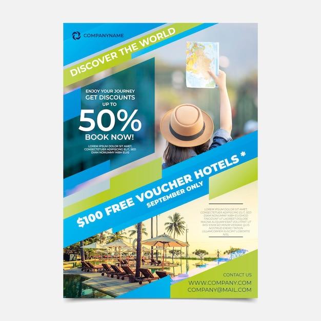 Modèle De Flyer De Vente De Voyage Avec Photo Vecteur gratuit