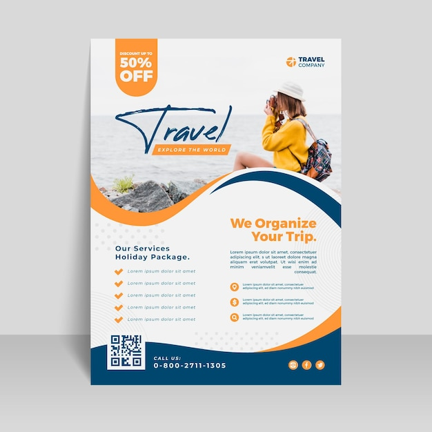 Modèle De Flyer De Vente De Voyage Vecteur gratuit
