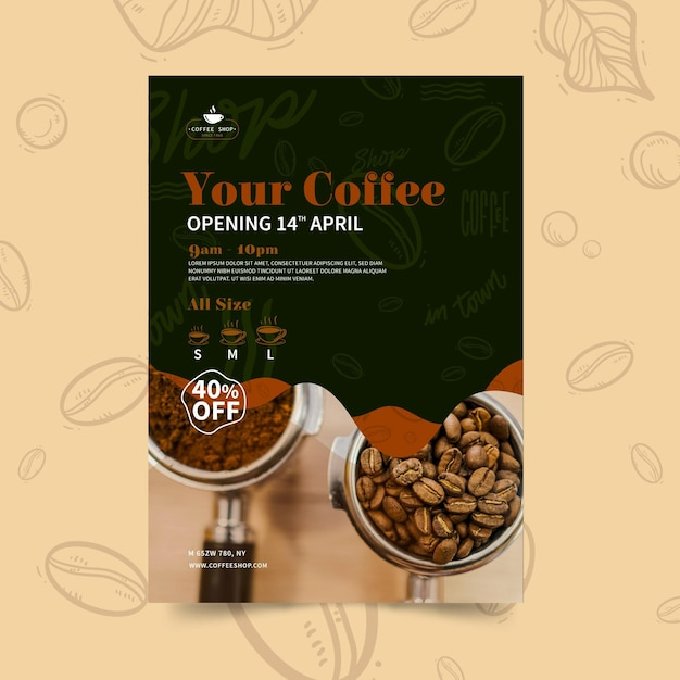 Modèle De Flyer Vertical De Café Vecteur gratuit