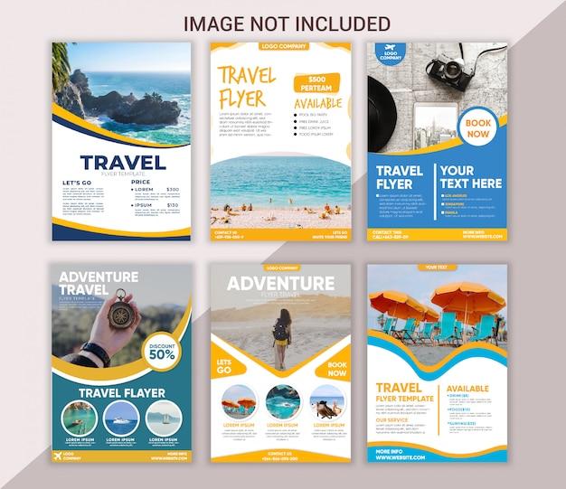 Modèle de flyer de voyage collection Vecteur Premium