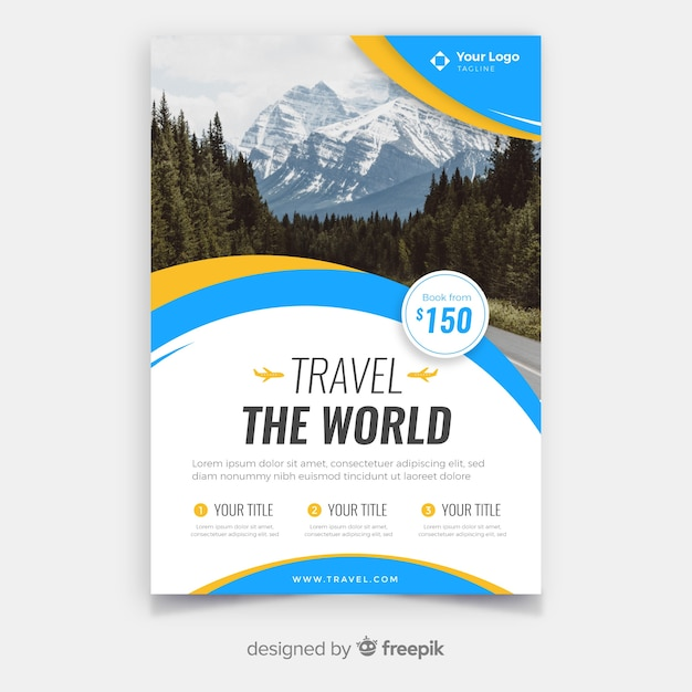 Modèle de flyer de voyage avec image Vecteur gratuit