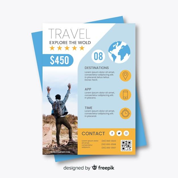 Modèle de flyer de voyage avec offre spéciale Vecteur gratuit
