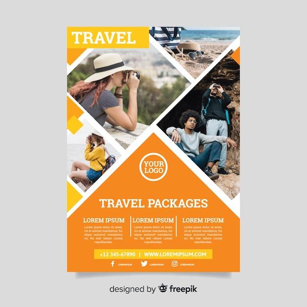 Modèle de flyer de voyage avec photo Vecteur gratuit