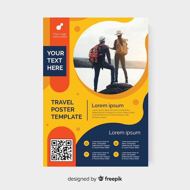 Modèle De Flyer De Voyage Avec Photo Vecteur Premium