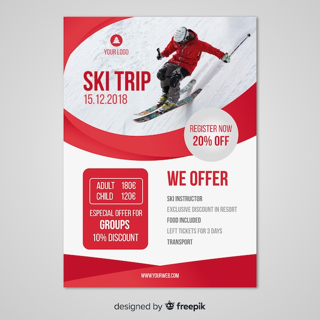 Modèle de flyer de voyage de ski Vecteur gratuit