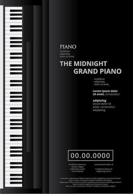 Modèle De Fond D'affiche De Piano à Queue De Musique Vecteur Premium