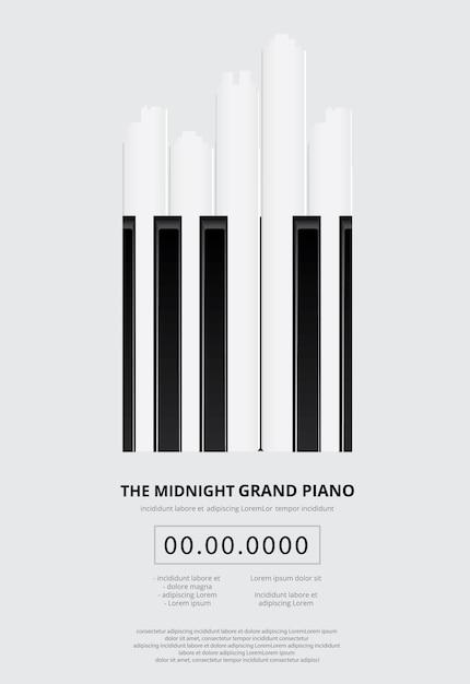 Modèle De Fond D'affiche De Piano à Queue Musique Vecteur Premium