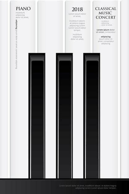 Modèle de fond d'affiche pour piano à queue de musique Vecteur Premium