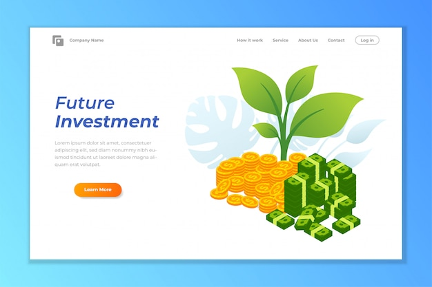 Modèle de fond bannière web investissement Vecteur Premium