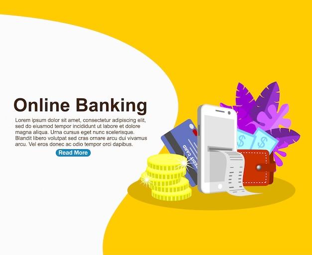 Modèle de fond de banque en ligne Vecteur Premium