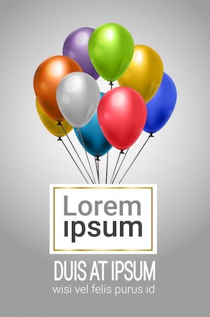 Modèle de fond bouquet de ballons colorés Vecteur Premium