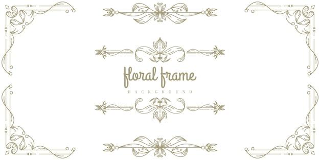Modèle de fond de cadre floral premium Vecteur Premium