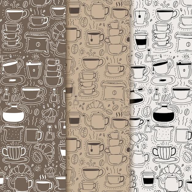 Modèle avec fond de café doodle dessiné à la main Vecteur Premium