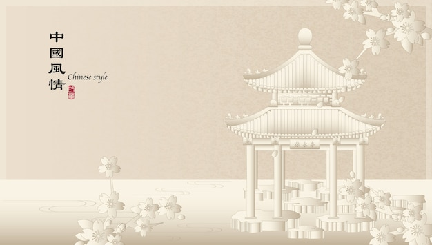 Modèle De Fond élégant Style Chinois Rétro Paysage De Campagne Du Pavillon De L'architecture Et Fleur De Fleur De Cerisier Sakura Vecteur Premium