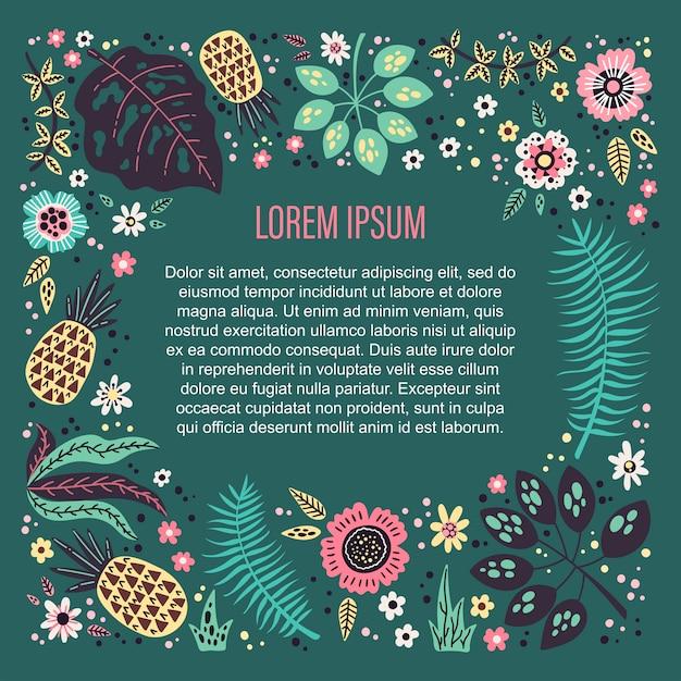 Modèle de fond entouré de fleurs, de plantes et de fruits tropicaux de vecteur. Vecteur Premium