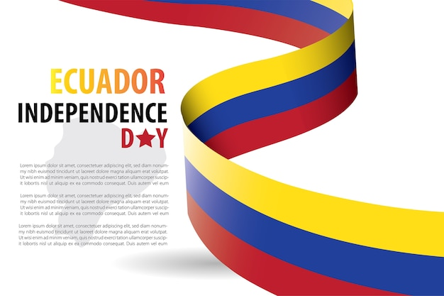 Modèle de fond de fête de l'indépendance de l'équateur Vecteur Premium