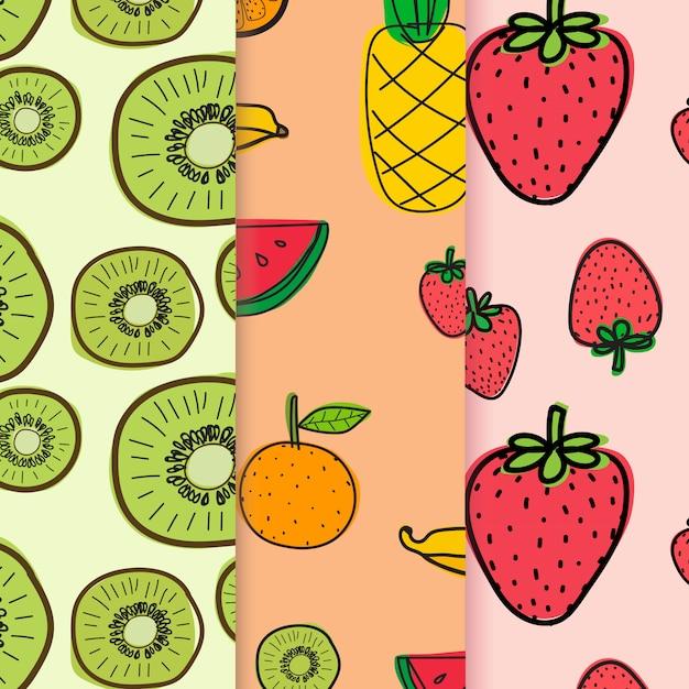 Modèle avec fond de fruits doodle dessinés à la main Vecteur Premium
