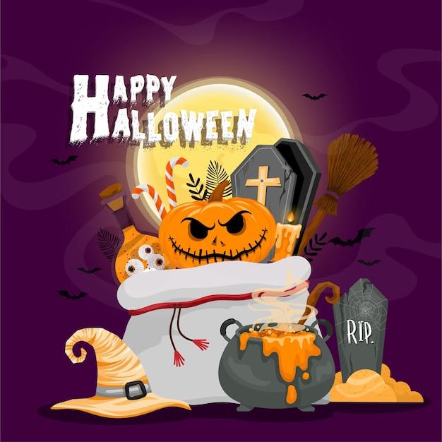 Modèle De Fond Happy Halloween Dans L'obscurité Avec L'icône Halloween Vecteur gratuit