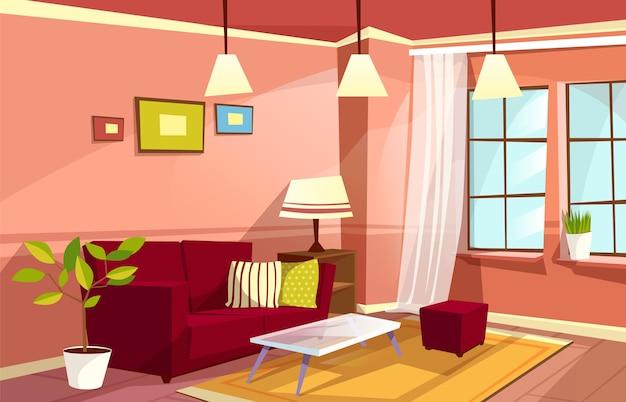 Modèle de fond intérieur de dessin animé salon. concept d'appartement maison confortable. Vecteur gratuit