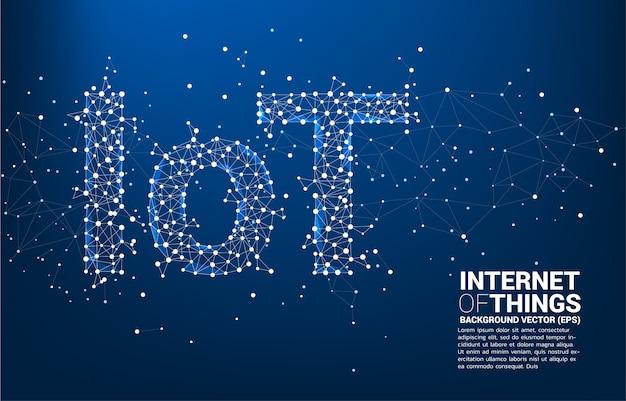 Modèle De Fond De Libellé Iot En Forme De Ligne Polygonale Se Connecter Ligne Vecteur Premium