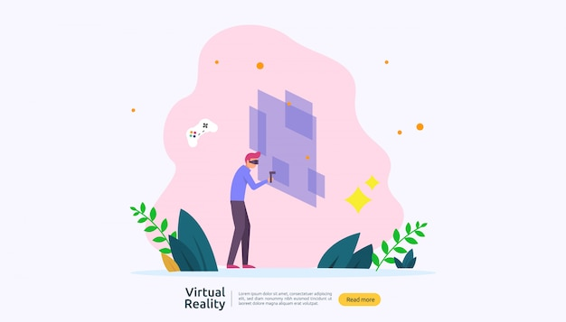 Modèle de fond de réalité augmentée virtuelle Vecteur Premium