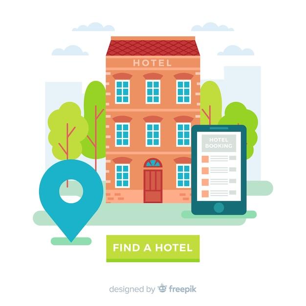 Modèle de fond de réservation d'hôtel plat Vecteur gratuit