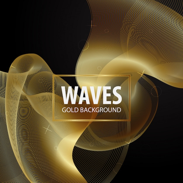 Modèle de fond de vague dorée Vecteur Premium