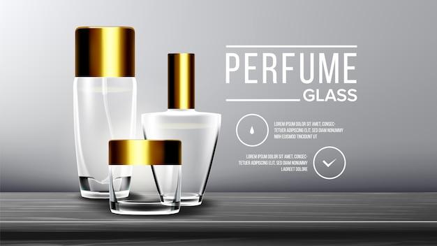 Modèle de fond de verre cosmétique Vecteur Premium