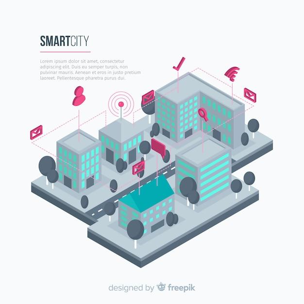 Modèle de fond de ville intelligente isométrique Vecteur gratuit