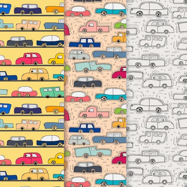 Modèle avec fond de voiture doodle dessiné à la main Vecteur Premium